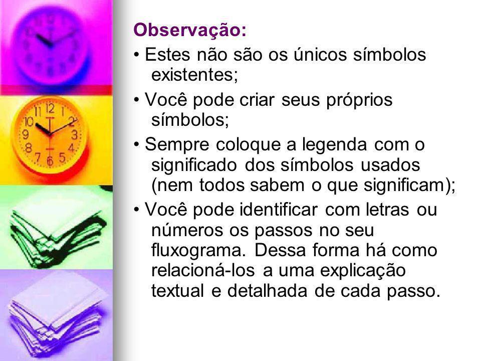 Observação: Estes não são os únicos símbolos existentes; Você pode criar seus próprios símbolos; Sempre coloque a legenda com o significado dos símbol