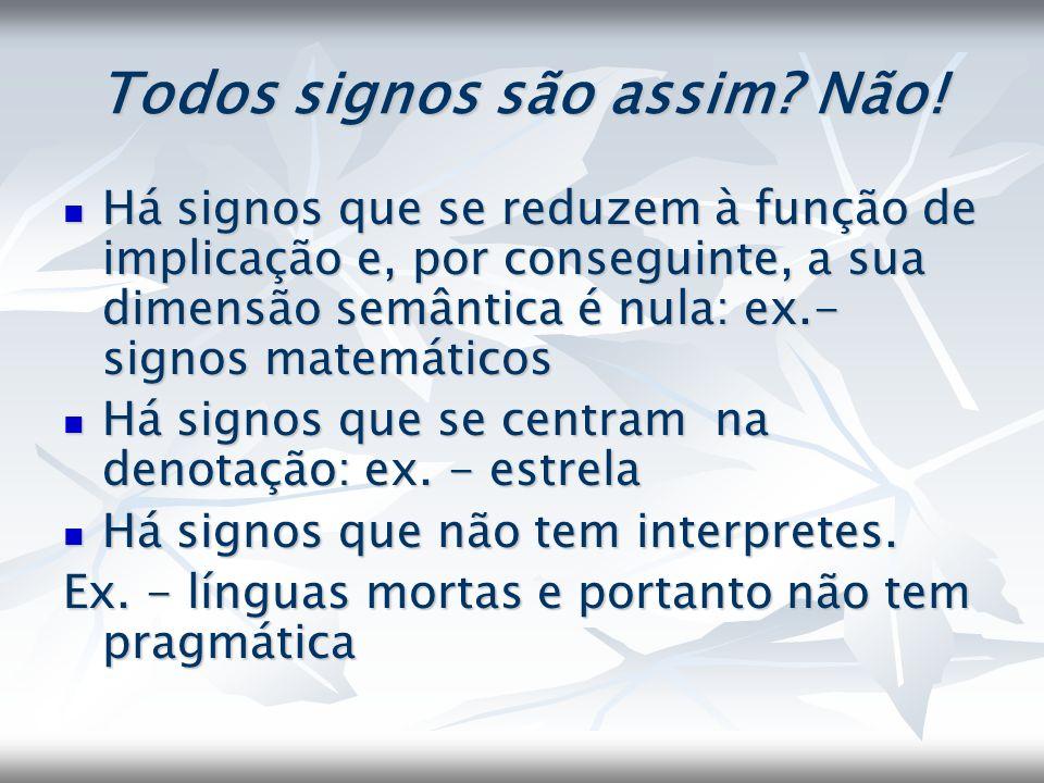 Todos signos são assim? Não! Há signos que se reduzem à função de implicação e, por conseguinte, a sua dimensão semântica é nula: ex.- signos matemáti