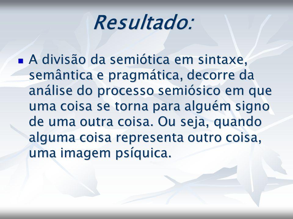 Resultado: A divisão da semiótica em sintaxe, semântica e pragmática, decorre da análise do processo semiósico em que uma coisa se torna para alguém s