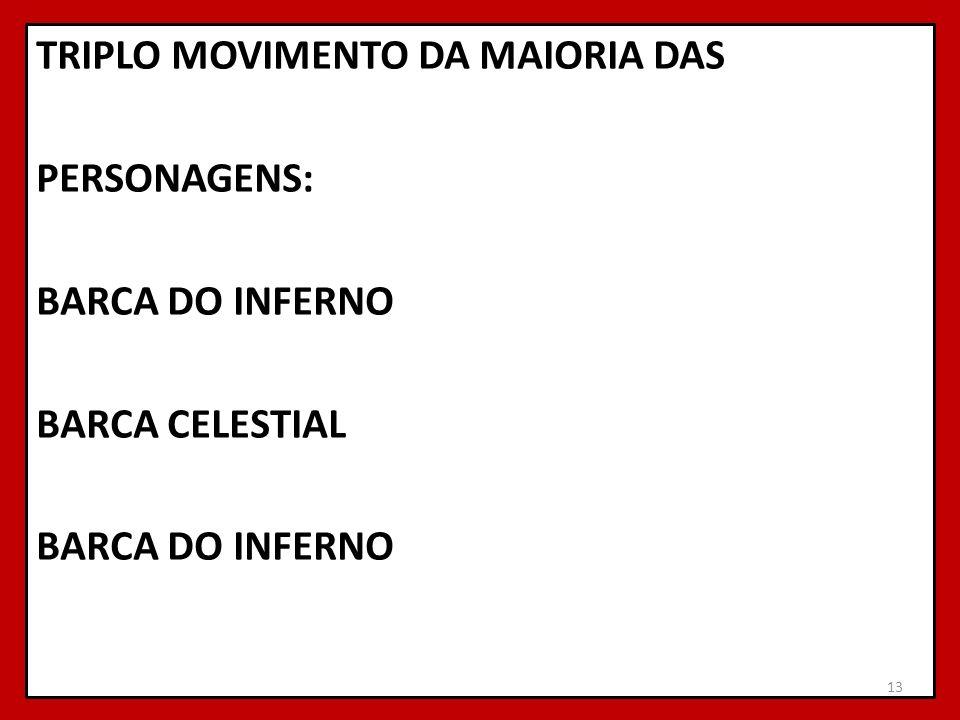 TRIPLO MOVIMENTO DA MAIORIA DAS PERSONAGENS: BARCA DO INFERNO BARCA CELESTIAL BARCA DO INFERNO 13
