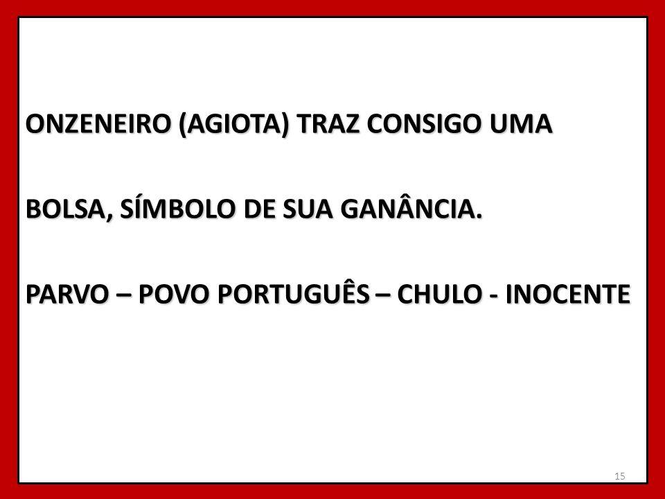 ONZENEIRO (AGIOTA) TRAZ CONSIGO UMA BOLSA, SÍMBOLO DE SUA GANÂNCIA. PARVO – POVO PORTUGUÊS – CHULO - INOCENTE 15