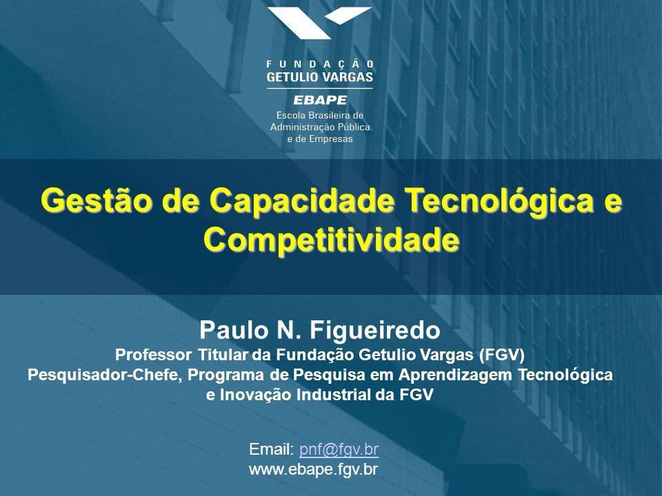 Gestão de Capacidade Tecnológica e Competitividade Paulo N. Figueiredo Professor Titular da Fundação Getulio Vargas (FGV) Pesquisador-Chefe, Programa