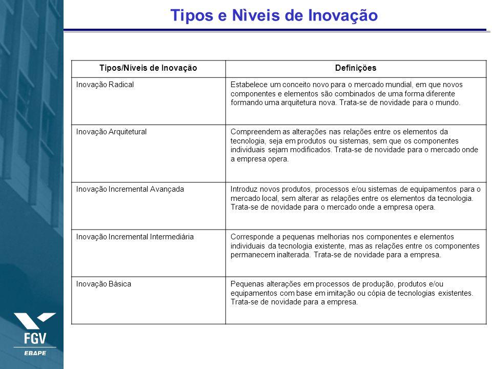 Tipos e Nìveis de Inovação Tipos/Níveis de InovaçãoDefinições Inovação RadicalEstabelece um conceito novo para o mercado mundial, em que novos compone