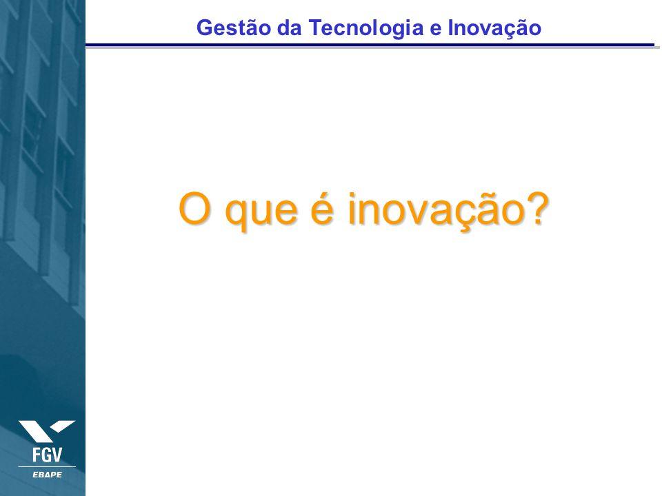 Gestão da Tecnologia e Inovação O que é inovação?