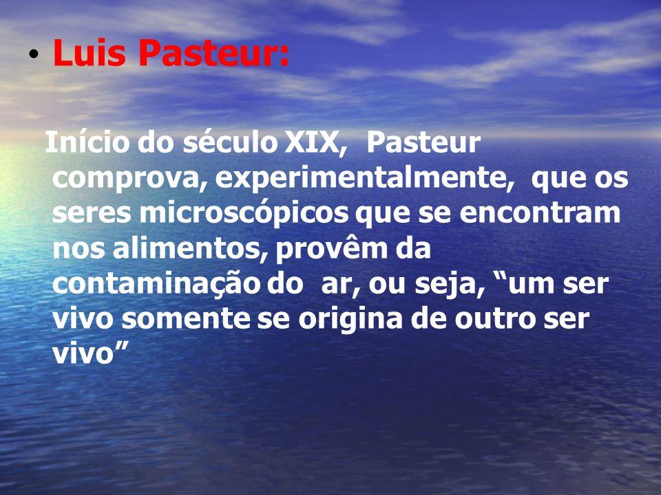 Luis Pasteur: Início do século XIX, Pasteur comprova, experimentalmente, que os seres microscópicos que se encontram nos alimentos, provêm da contamin