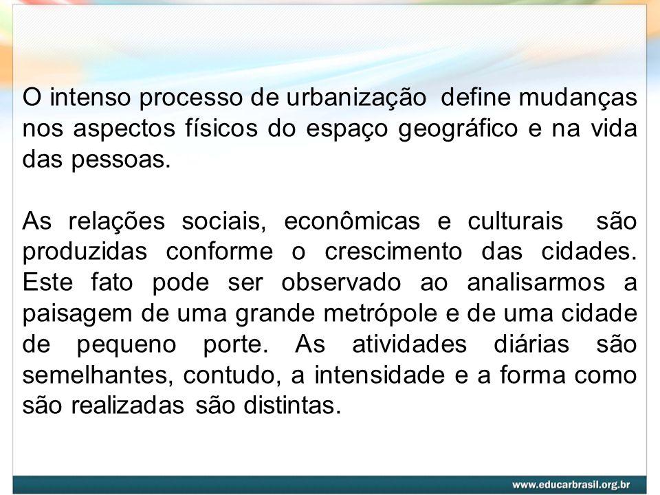 O intenso processo de urbanização define mudanças nos aspectos físicos do espaço geográfico e na vida das pessoas. As relações sociais, econômicas e c