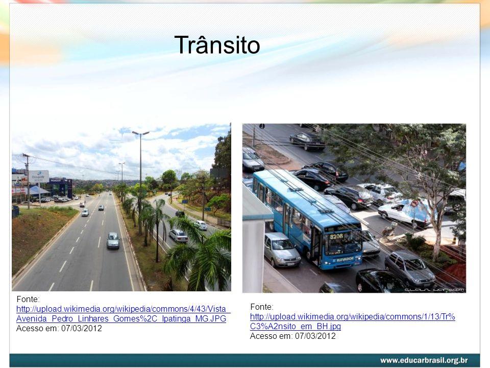 Trânsito Fonte: http://upload.wikimedia.org/wikipedia/commons/4/43/Vista_ Avenida_Pedro_Linhares_Gomes%2C_Ipatinga_MG.JPG http://upload.wikimedia.org/
