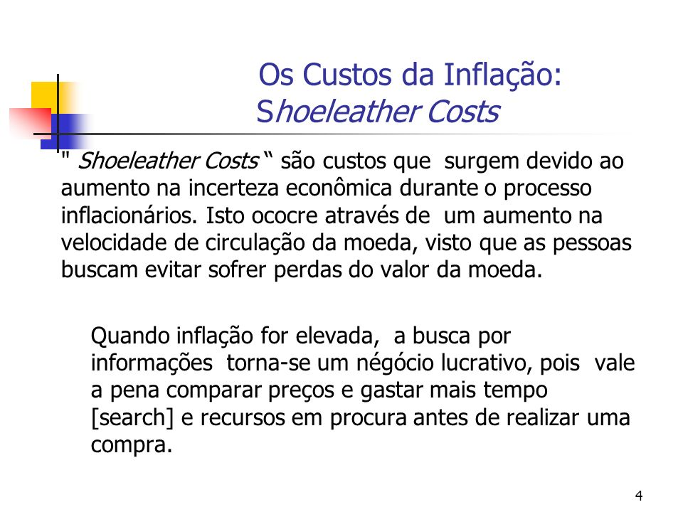 4 Os Custos da Inflação: Shoeleather Costs