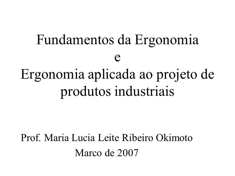 Fundamentos da Ergonomia e Ergonomia aplicada ao projeto de produtos industriais Prof. Maria Lucia Leite Ribeiro Okimoto Marco de 2007