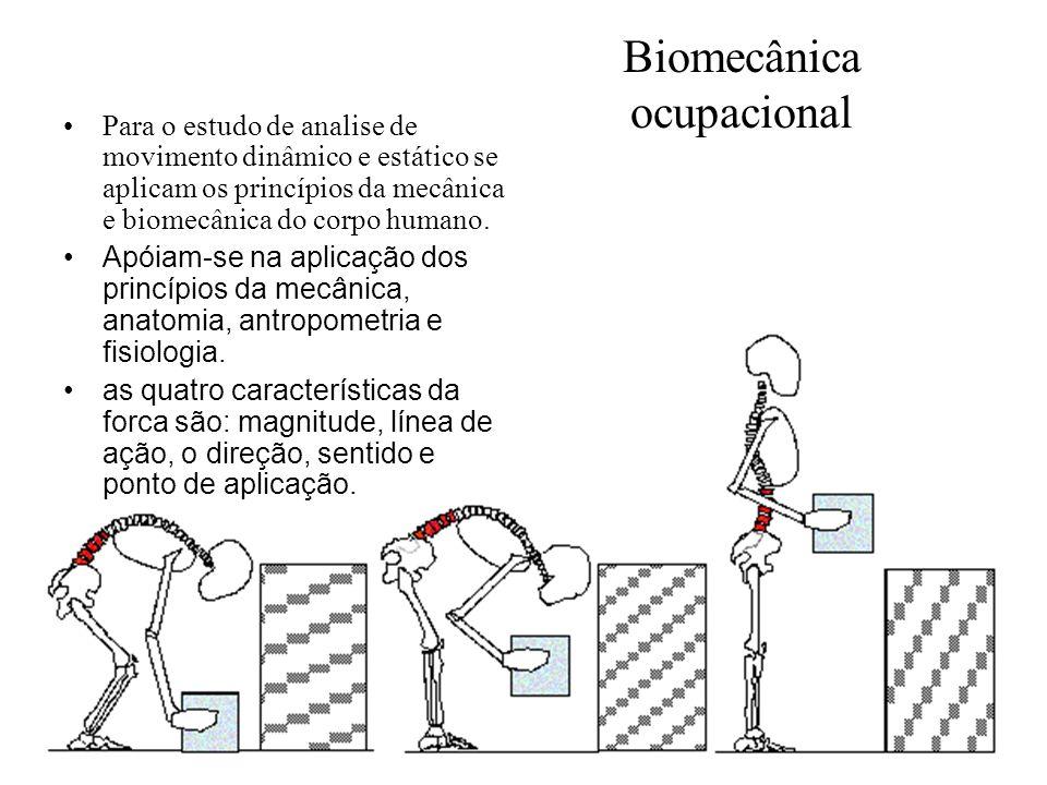 Biomecânica ocupacional Para o estudo de analise de movimento dinâmico e estático se aplicam os princípios da mecânica e biomecânica do corpo humano.