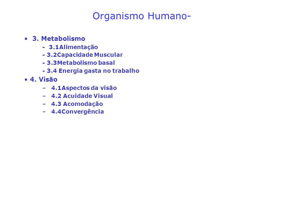 Organismo Humano- 3. Metabolismo - 3.1Alimentação - 3.2Capacidade Muscular - 3.3Metabolismo basal - 3.4 Energia gasta no trabalho 4. Visão –4.1Aspecto