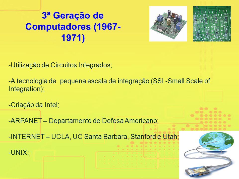 2ª Geração de Computadores (1960- 1966) -Utilização de transistores; -Burroughs B-205 (PUC-RJ);Burroughs B-205 -COBOL; -Estudos para a construção dos