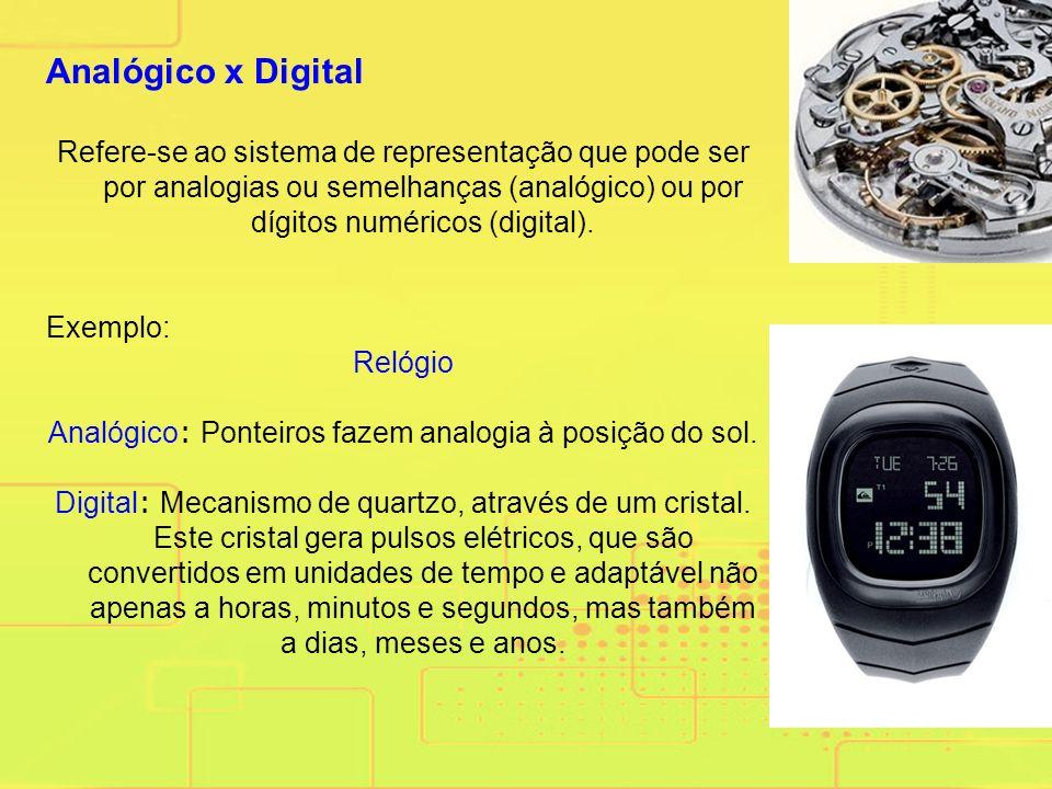 Analógico x Digital Refere-se ao sistema de representação que pode ser por analogias ou semelhanças (analógico) ou por dígitos numéricos (digital).