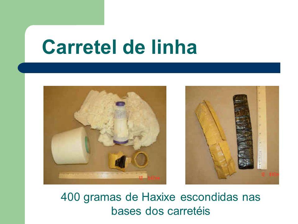 Carretel de linha 400 gramas de Haxixe escondidas nas bases dos carretéis