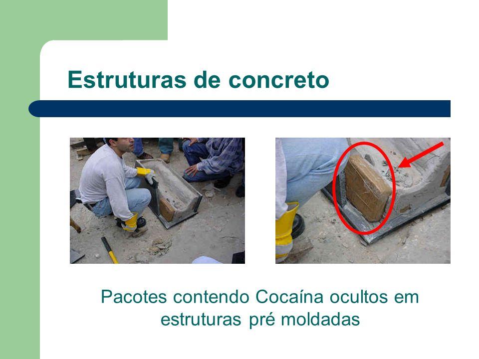 Estruturas de concreto Pacotes contendo Cocaína ocultos em estruturas pré moldadas