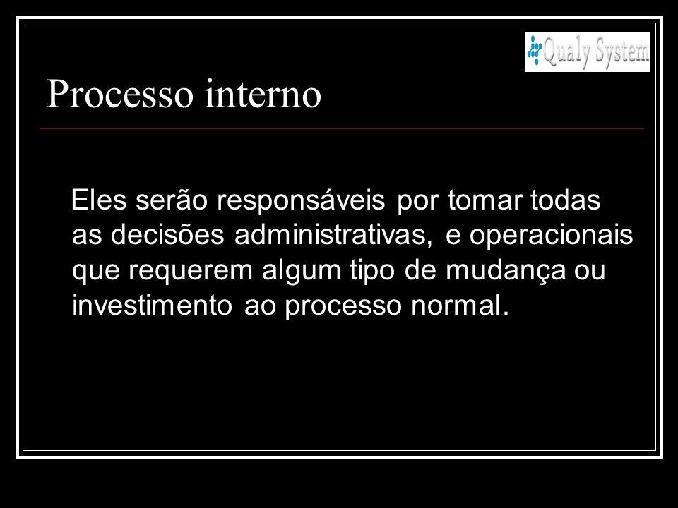 Processo interno Eles serão responsáveis por tomar todas as decisões administrativas, e operacionais que requerem algum tipo de mudança ou investiment