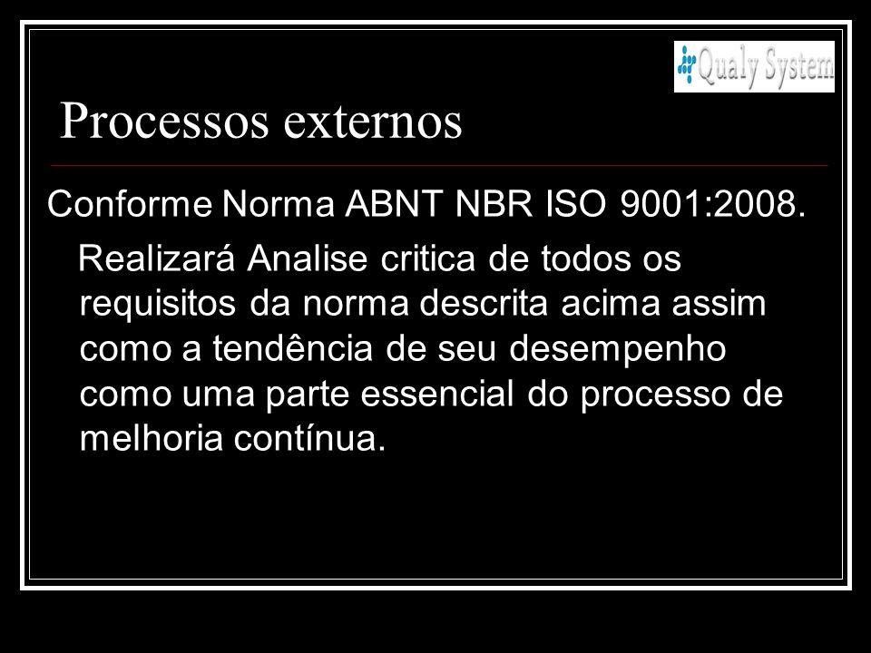 Processos externos Conforme Norma ABNT NBR ISO 9001:2008. Realizará Analise critica de todos os requisitos da norma descrita acima assim como a tendên