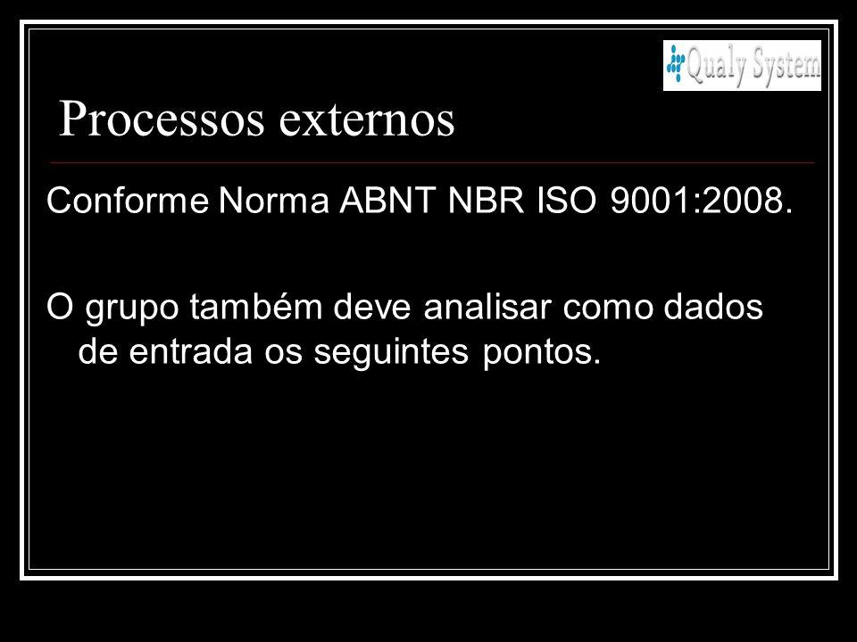 Processos externos Conforme Norma ABNT NBR ISO 9001:2008. O grupo também deve analisar como dados de entrada os seguintes pontos.
