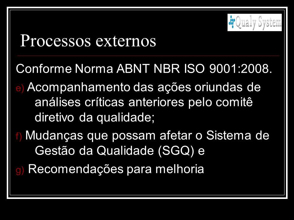 Processos externos Conforme Norma ABNT NBR ISO 9001:2008. e) Acompanhamento das ações oriundas de análises críticas anteriores pelo comitê diretivo da