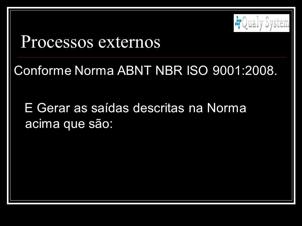 Conforme Norma ABNT NBR ISO 9001:2008. E Gerar as saídas descritas na Norma acima que são: Processos externos
