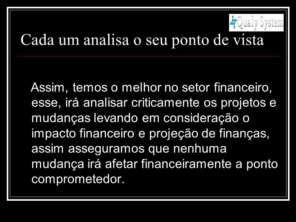Assim, temos o melhor no setor financeiro, esse, irá analisar criticamente os projetos e mudanças levando em consideração o impacto financeiro e proje