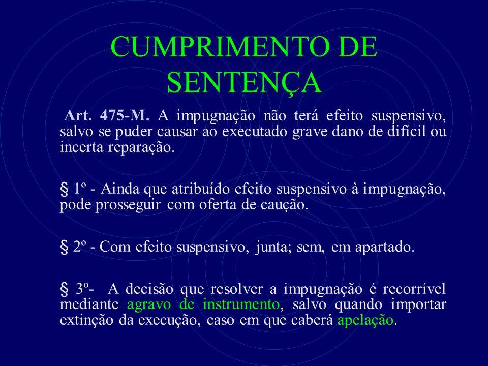 CUMPRIMENTO DE SENTENÇA Art. 475-M. A impugnação não terá efeito suspensivo, salvo se puder causar ao executado grave dano de difícil ou incerta repar