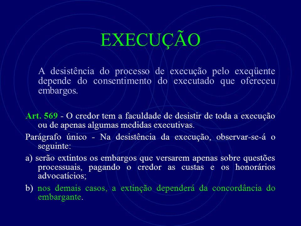 EXECUÇÃO A desistência do processo de execução pelo exeqüente depende do consentimento do executado que ofereceu embargos. Art. 569 - O credor tem a f