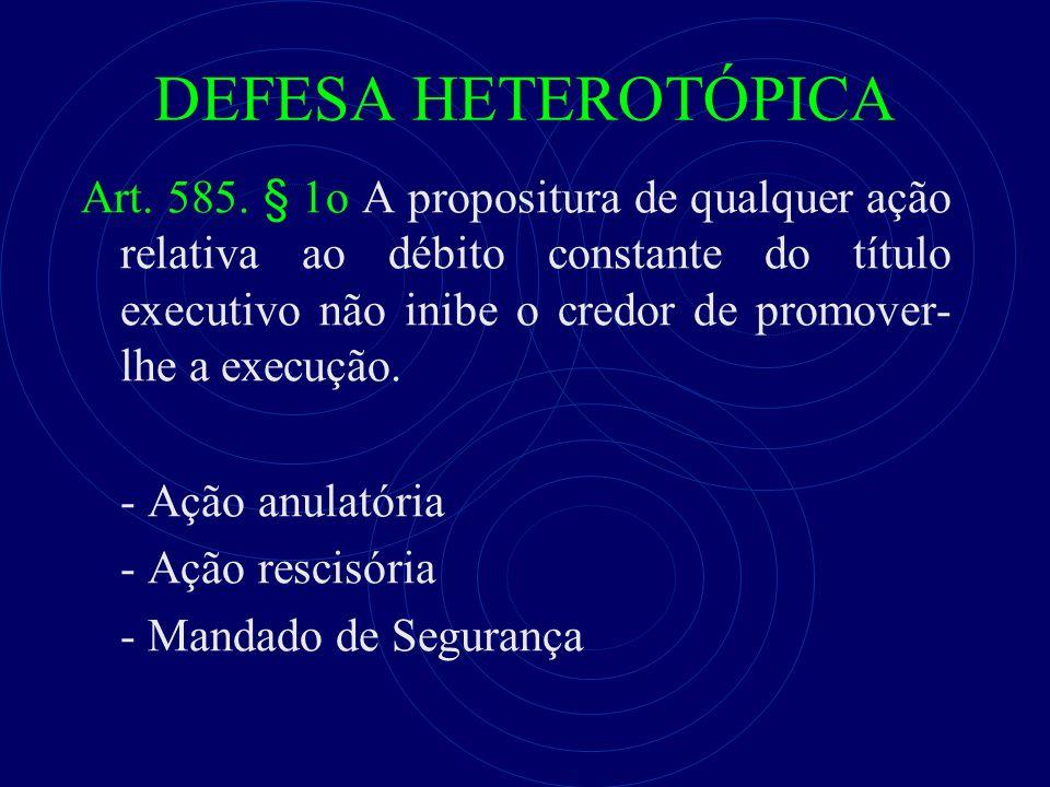 DEFESA HETEROTÓPICA Art. 585.