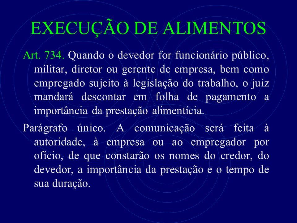 EXECUÇÃO DE ALIMENTOS Art. 734. Quando o devedor for funcionário público, militar, diretor ou gerente de empresa, bem como empregado sujeito à legisla