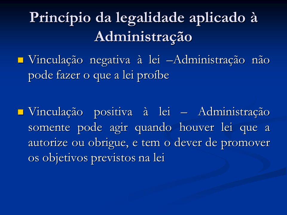 Princípio da legalidade aplicado à Administração Vinculação negativa à lei –Administração não pode fazer o que a lei proíbe Vinculação negativa à lei