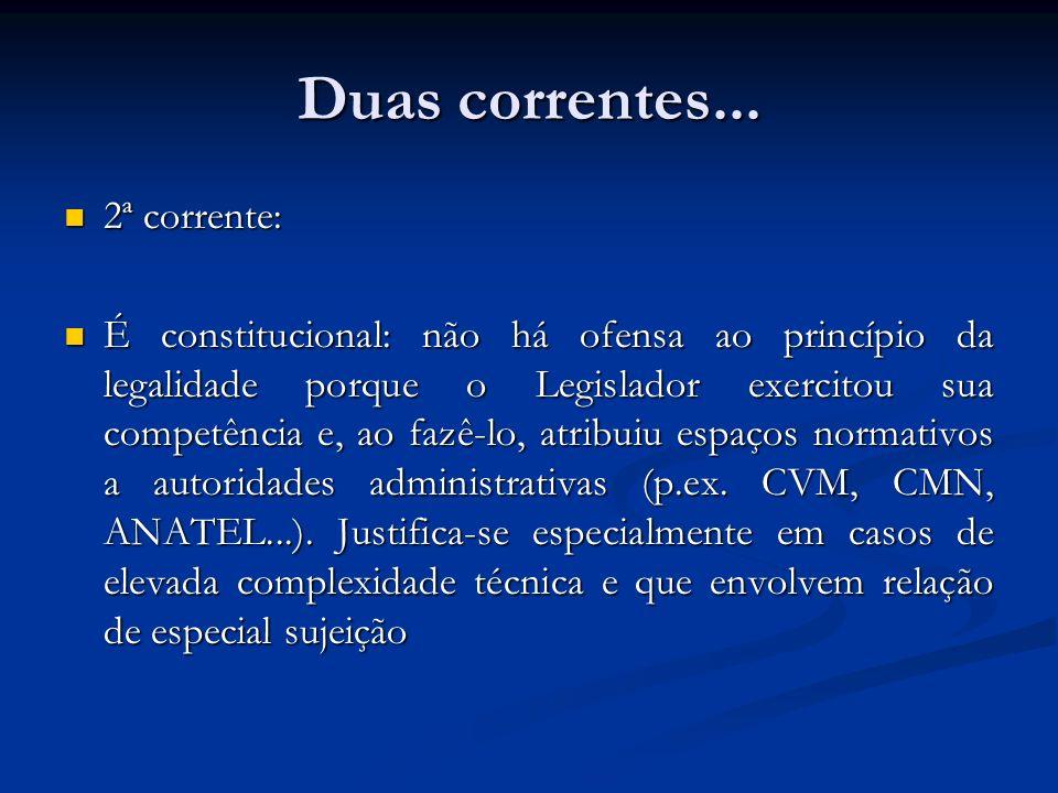 Duas correntes... 2ª corrente: 2ª corrente: É constitucional: não há ofensa ao princípio da legalidade porque o Legislador exercitou sua competência e