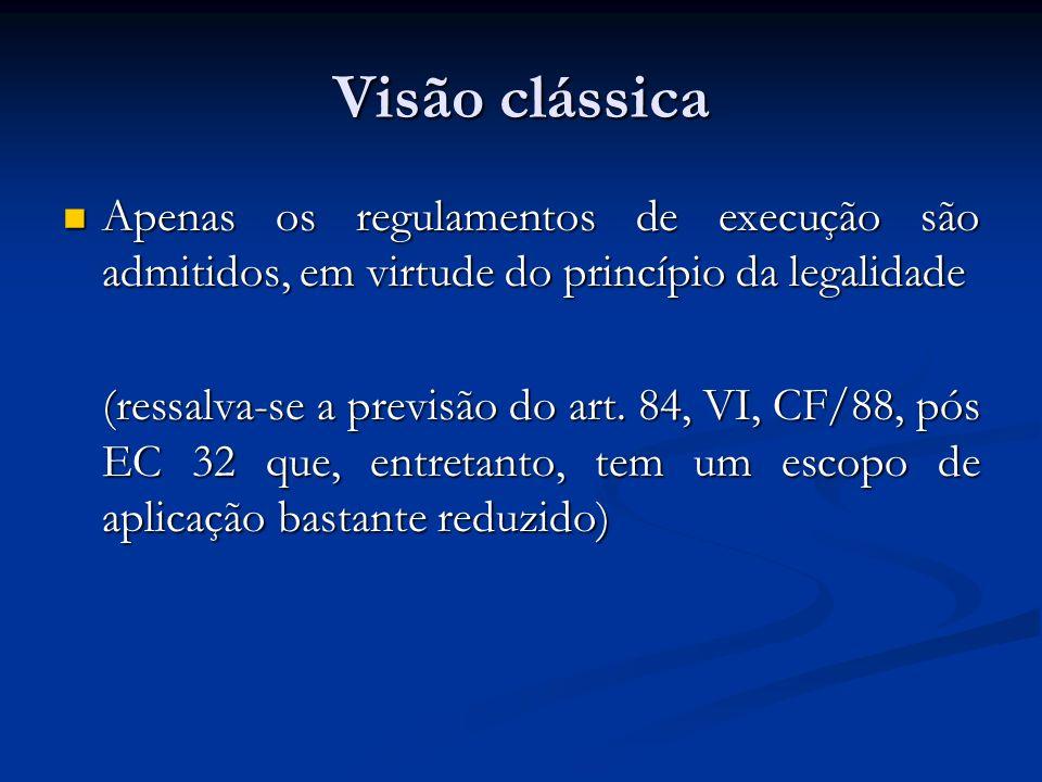 Visão clássica Apenas os regulamentos de execução são admitidos, em virtude do princípio da legalidade Apenas os regulamentos de execução são admitido