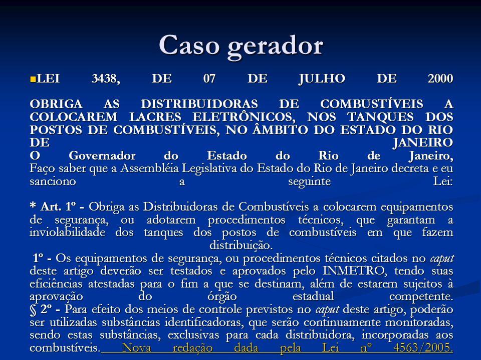 Caso gerador LEI 3438, DE 07 DE JULHO DE 2000 OBRIGA AS DISTRIBUIDORAS DE COMBUSTÍVEIS A COLOCAREM LACRES ELETRÔNICOS, NOS TANQUES DOS POSTOS DE COMBU