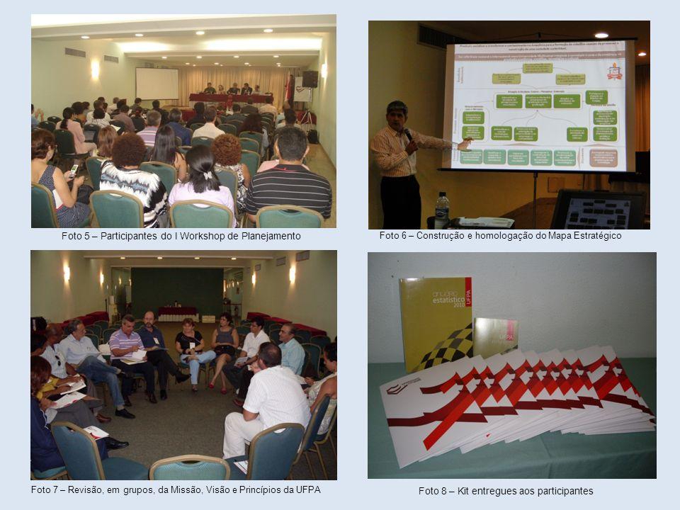 Foto 5 – Participantes do I Workshop de Planejamento Foto 6 – Construção e homologação do Mapa Estratégico Foto 7 – Revisão, em grupos, da Missão, Vis