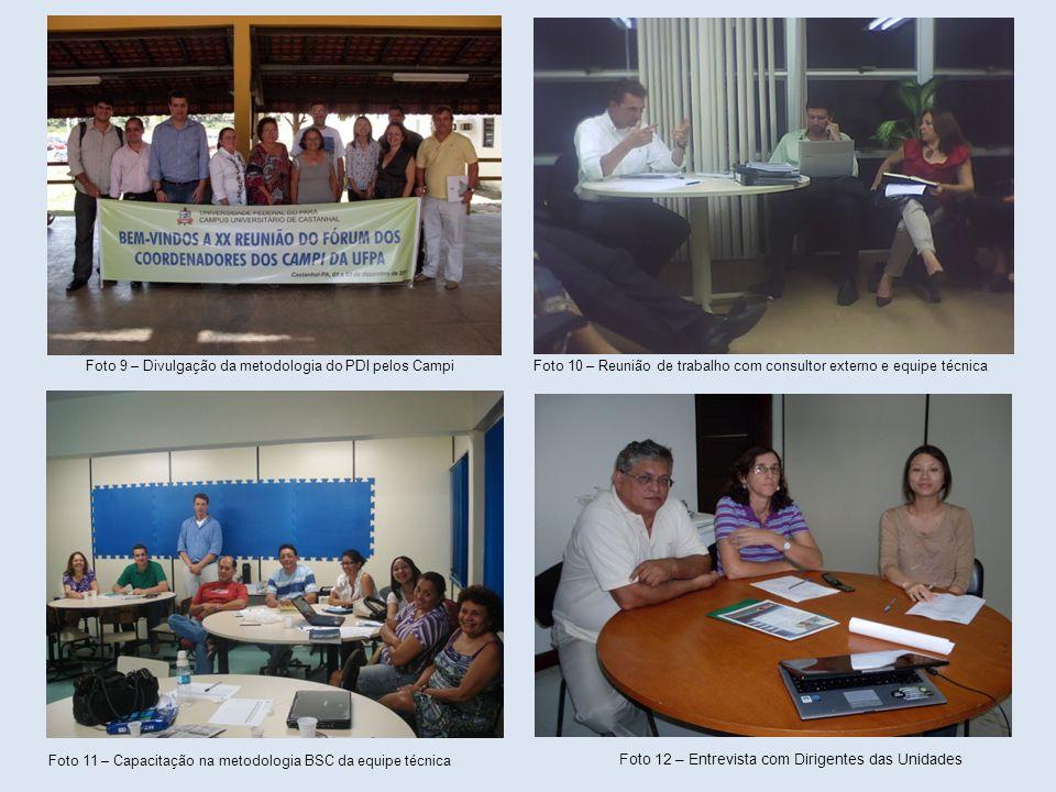 Foto 9 – Divulgação da metodologia do PDI pelos Campi Foto 10 – Reunião de trabalho com consultor externo e equipe técnica Foto 11 – Capacitação na me