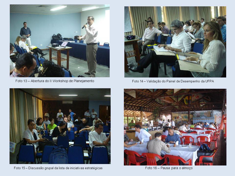 Foto 13 – Abertura do II Workshop de Planejamento Foto 14 – Validação do Painel de Desempenho da UFPA Foto 15 – Discussão grupal da lista de iniciativ