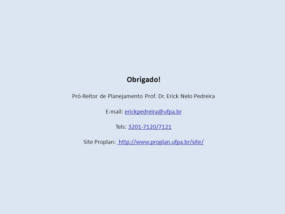 Obrigado! Pró-Reitor de Planejamento Prof. Dr. Erick Nelo Pedreira E-mail: erickpedreira@ufpa.brerickpedreira@ufpa.br Tels: 3201-7120/71213201-7120/71