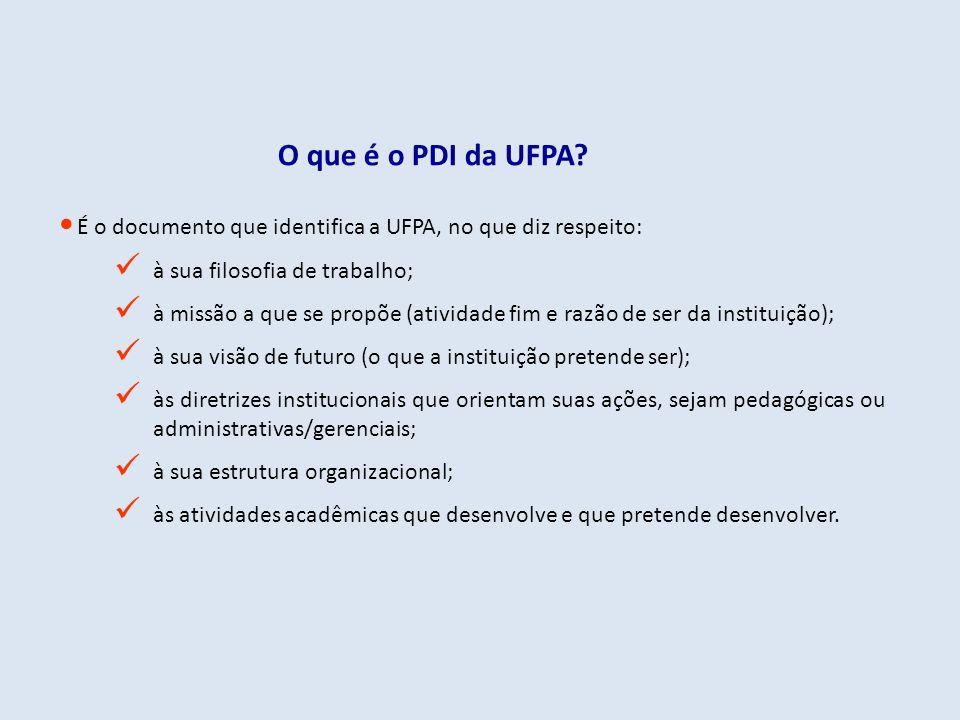 É o documento que identifica a UFPA, no que diz respeito: à sua filosofia de trabalho; à missão a que se propõe (atividade fim e razão de ser da insti