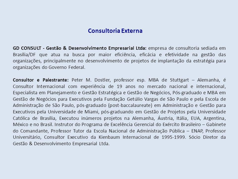 Consultoria Externa GD CONSULT - Gestão & Desenvolvimento Empresarial Ltda: empresa de consultoria sediada em Brasília/DF que atua na busca por maior