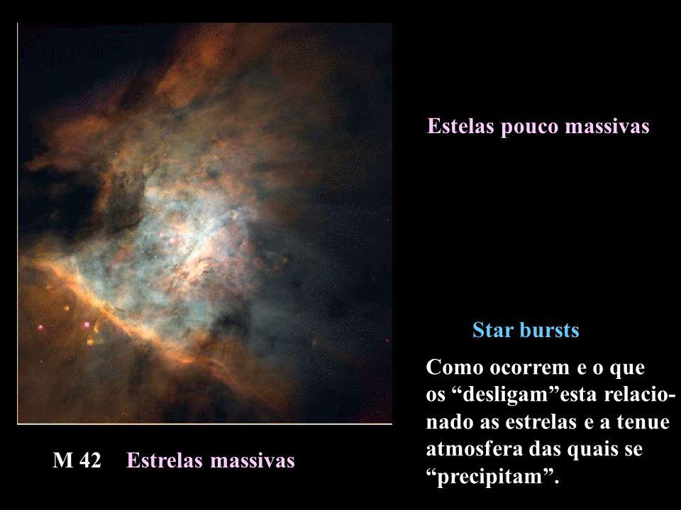 Estrelas massivas Estelas pouco massivas Star bursts M 42 Como ocorrem e o que os desligamesta relacio- nado as estrelas e a tenue atmosfera das quais se precipitam.