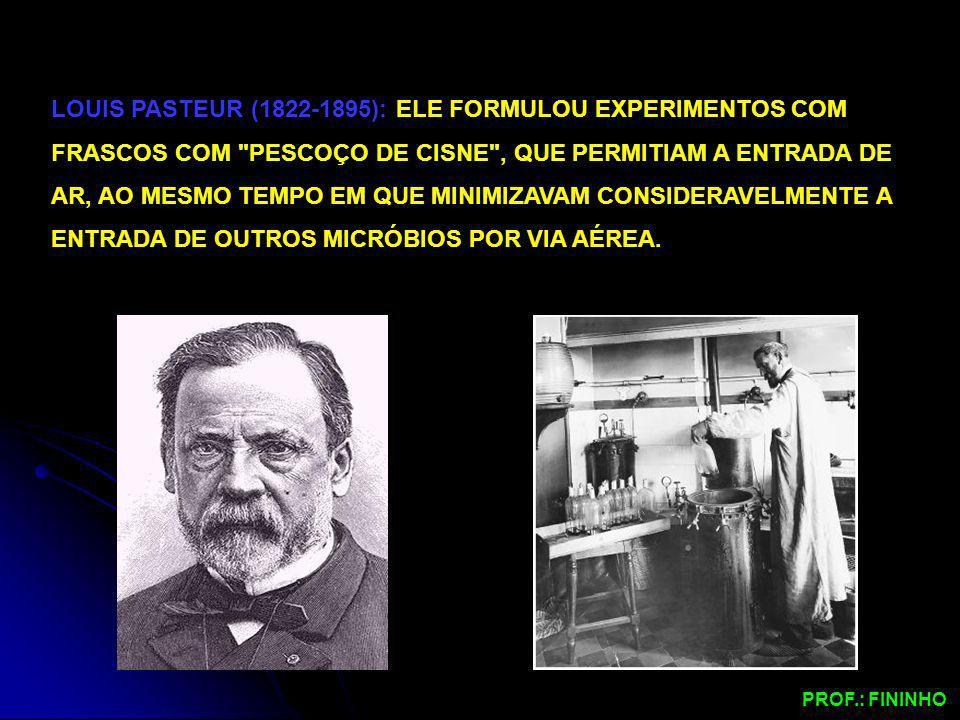 LOUIS PASTEUR (1822-1895): ELE FORMULOU EXPERIMENTOS COM FRASCOS COM