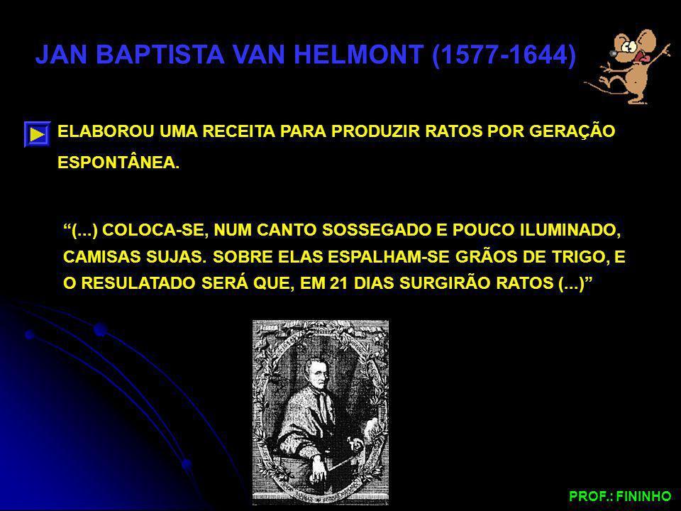 JAN BAPTISTA VAN HELMONT (1577-1644) ELABOROU UMA RECEITA PARA PRODUZIR RATOS POR GERAÇÃO ESPONTÂNEA. (...) COLOCA-SE, NUM CANTO SOSSEGADO E POUCO ILU
