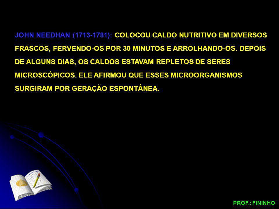 JOHN NEEDHAN (1713-1781): COLOCOU CALDO NUTRITIVO EM DIVERSOS FRASCOS, FERVENDO-OS POR 30 MINUTOS E ARROLHANDO-OS. DEPOIS DE ALGUNS DIAS, OS CALDOS ES