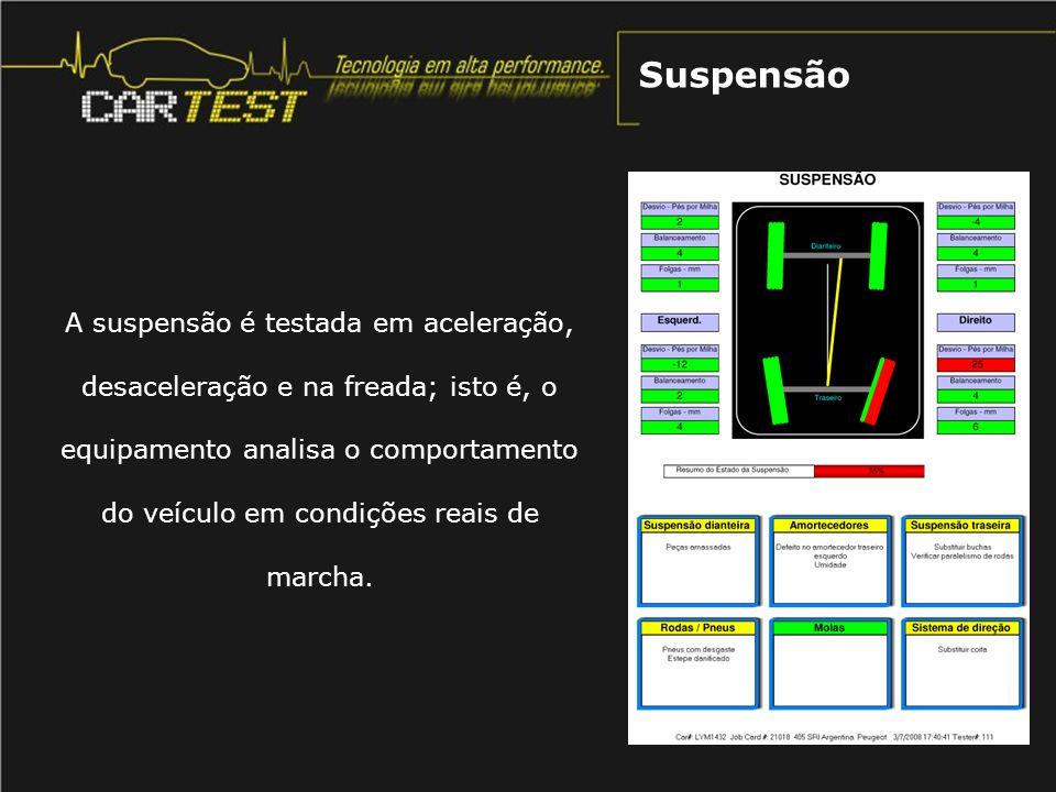A suspensão é testada em aceleração, desaceleração e na freada; isto é, o equipamento analisa o comportamento do veículo em condições reais de marcha.