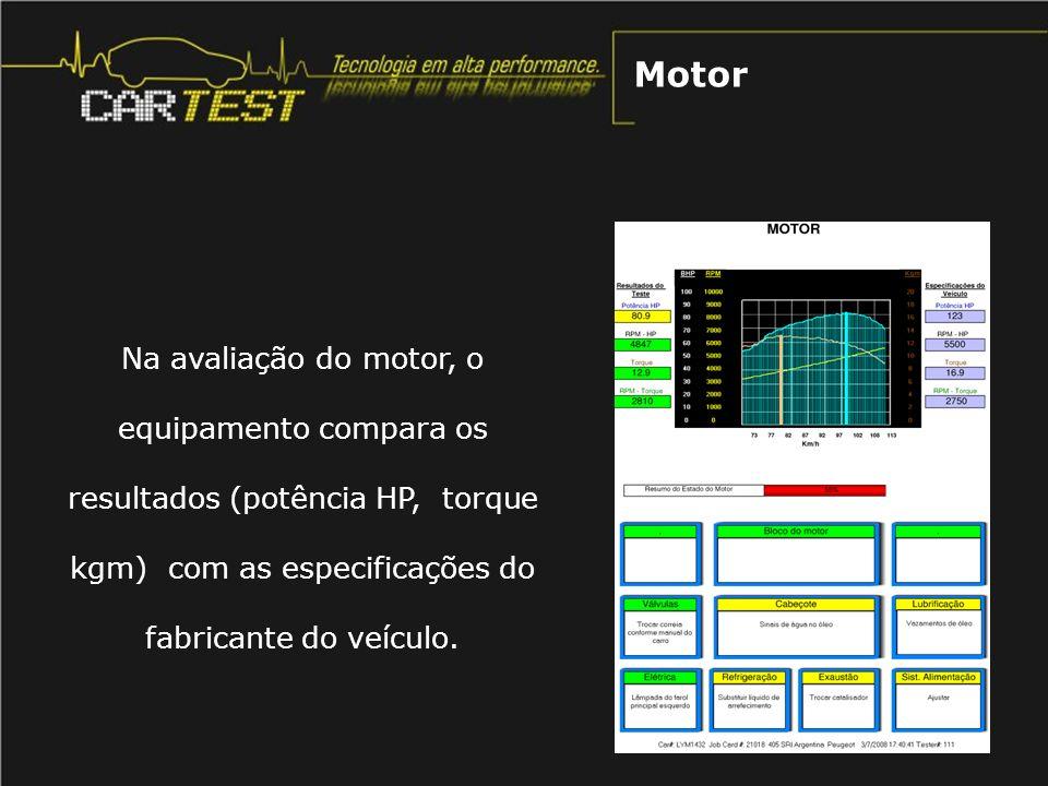 Na avaliação do motor, o equipamento compara os resultados (potência HP, torque kgm) com as especificações do fabricante do veículo. Motor