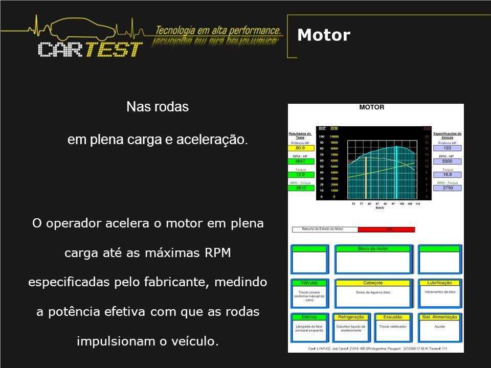 O operador acelera o motor em plena carga até as máximas RPM especificadas pelo fabricante, medindo a potência efetiva com que as rodas impulsionam o