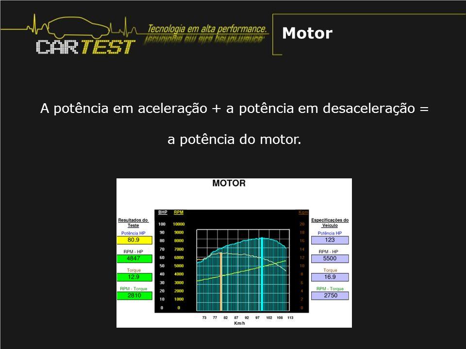A potência em aceleração + a potência em desaceleração = a potência do motor. Motor