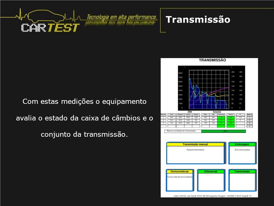 Com estas medições o equipamento avalia o estado da caixa de câmbios e o conjunto da transmissão. Transmissão