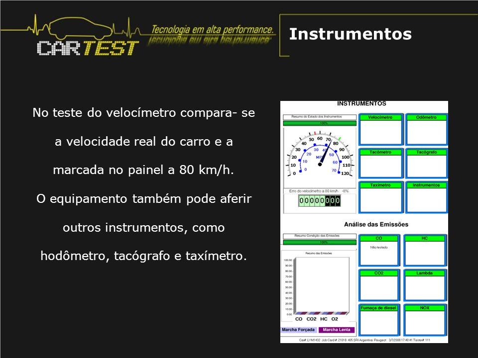 No teste do velocímetro compara- se a velocidade real do carro e a marcada no painel a 80 km/h. O equipamento também pode aferir outros instrumentos,