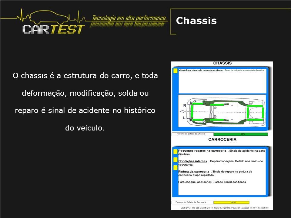 O chassis é a estrutura do carro, e toda deformação, modificação, solda ou reparo é sinal de acidente no histórico do veículo. Chassis